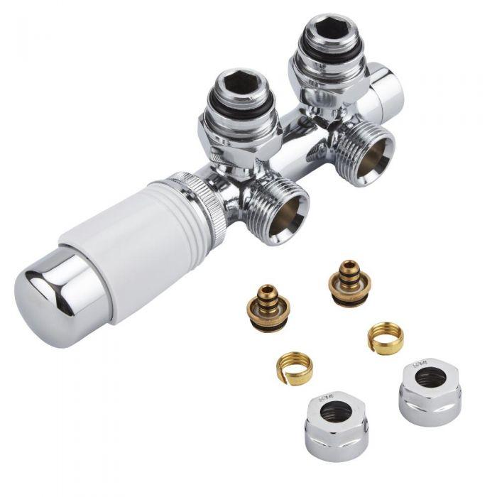 Llaves Angulares Cromadas para Radiador y Radiador Toallero de Conexión Central Completas con Cabezal Termostático Blanco y Multi Adaptador para Tubos Pex o Multicapa de 14mm - Multiblock H