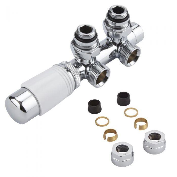 Llaves Angulares Cromadas para Radiador y Toallero con Cabezal Termostático Cromado y Blanco y Adaptadores para Tubos de Cobre 16mm - Multiblock H