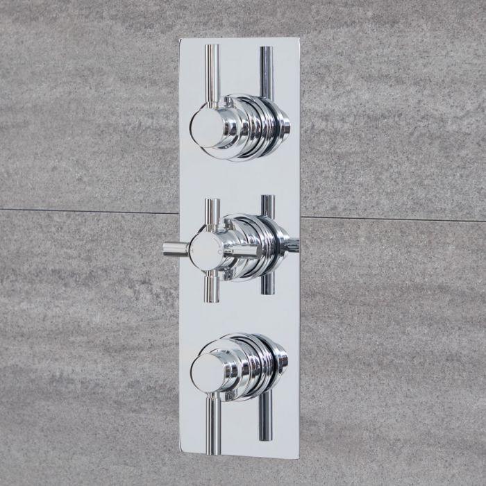 Mezclador de Ducha Termostático Redondo Moderno Triple de 3 Salidas con Desviador - Cromado - Tec