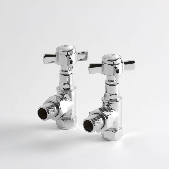 Par de Llaves Angulares para Radiador y Radiador Toallero Tradicional en Cromo para Tubos de Cobre de 15mm