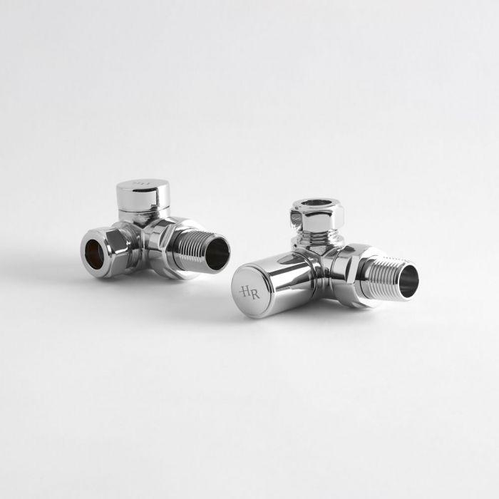 Llaves Modernas Angulares de Esquina para Radiador y Toallero Ahorra Espacio de Latón Cromado para Tubos de Cobre de 15mm