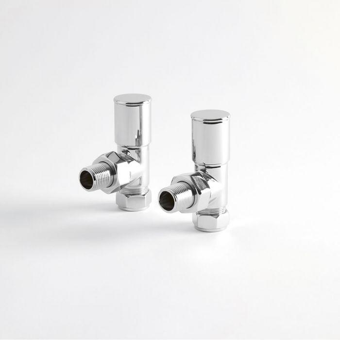 Par de Llaves Modernas Angulares Cromadas para Radiador Toallero para Tubos de Cobre de 15mm