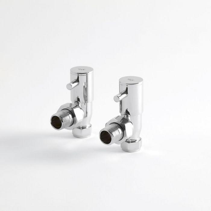 Par de Llaves Angulares Minimalistas para Radiador o Toallero para Tubos de Cobre de 15mm
