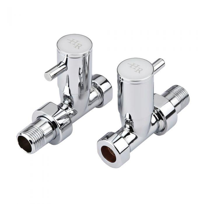 Par de Llaves Rectas Minimalistas para Radiador y Radiador Toallero para Tubos de Cobre de 15mm