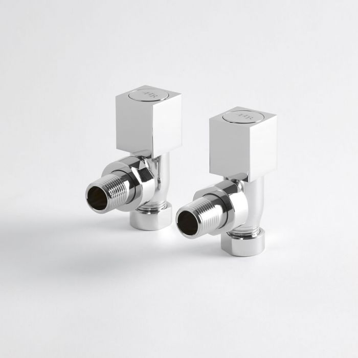 Par de Llaves Angulares Cuadradas en Latón Cromado para Radiador y Radiador Toallero Para Tubos de Cobre de 15mm
