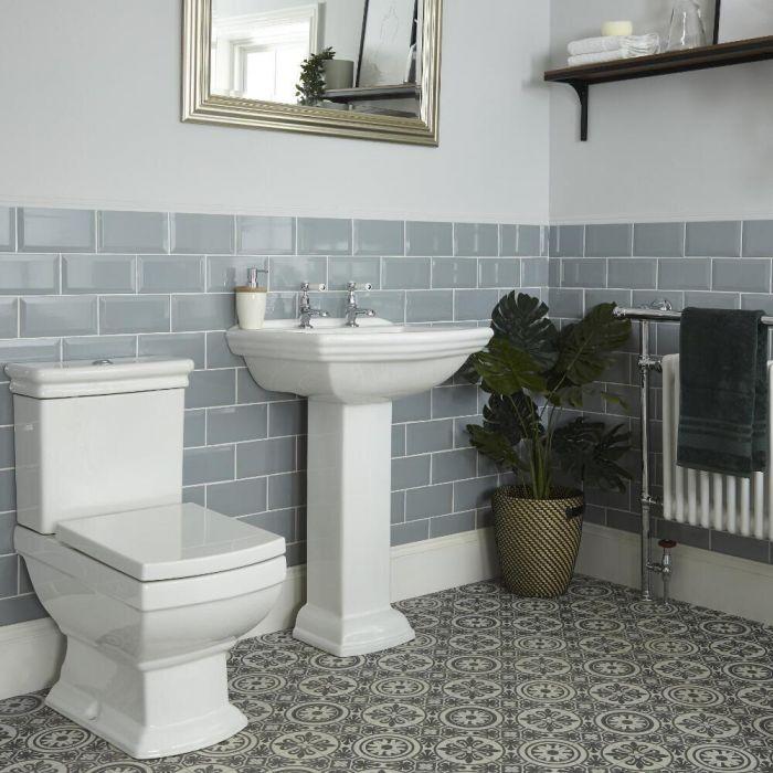 Conjunto de Baño Tradicional Completo con Inodoro Monobloque con Cisterna y Lavabo con Pedestal - Chester