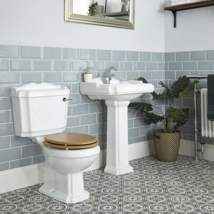Conjunto de Baño Tradicional Completo con Inodoro Monobloque y Lavabo con Pedestal - Oxford