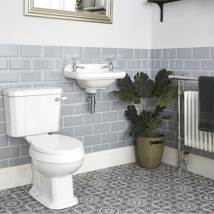 Conjunto Tradicional para Cuarto de Baño Completo con Inodoro Monobloque y Lavabo Suspendido - Richmond