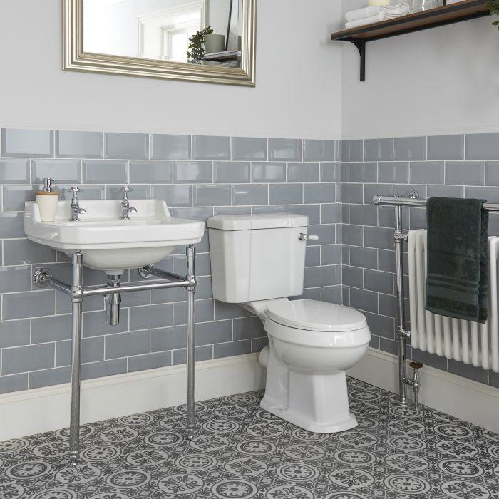 Conjunto de Baño Tradicional Completo con Inodoro Monobloque y Lavabo con Consola - Richmond