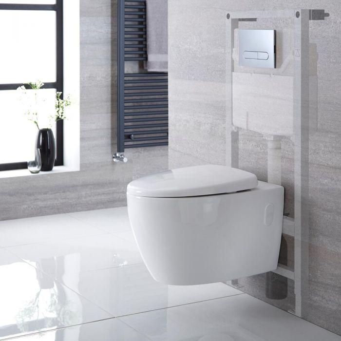 Inodoro Moderno Oval Suspendido sin Brida Completo con Estructura Empotrable, Cisterna, Placa de Descarga y Tapa WC,  – Kenton