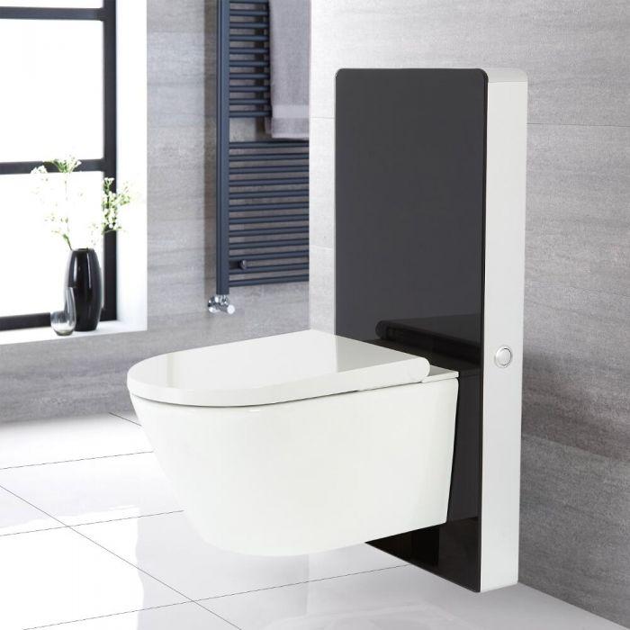 Kit para Inodoro Negro de 500mm Completo con Inodoro WC Japonés Inodoro-Bidé Inteligente - Saru