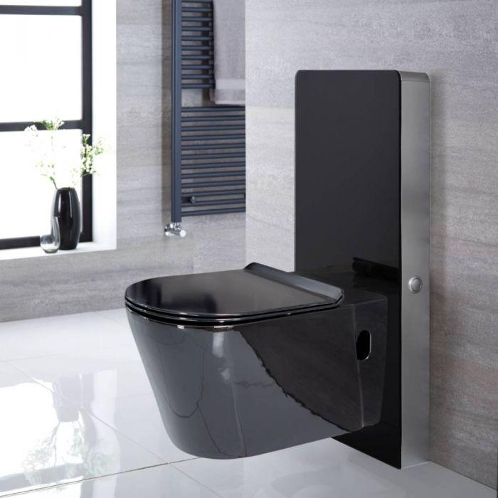 Conjunto de WC Completo con Kit para Inodoro Negro de 500mm e Inodoro de 340x350x560mm - Nox