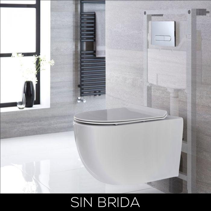Conjunto de WC con Inodoro Blanco sin Brida Completo con Estructura Empotrable Alta y Cisterna con Distintas Placas de Descarga - Otterton