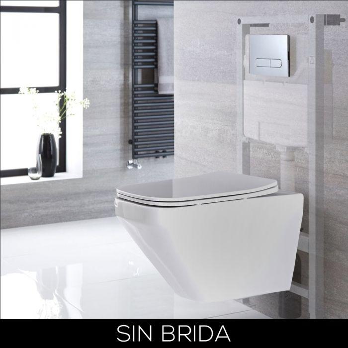 Conjunto de WC con Inodoro Blanco sin Brida Completo con Estructura Empotrable Alta y Cisterna con Distintas Placas de Descarga - Exton
