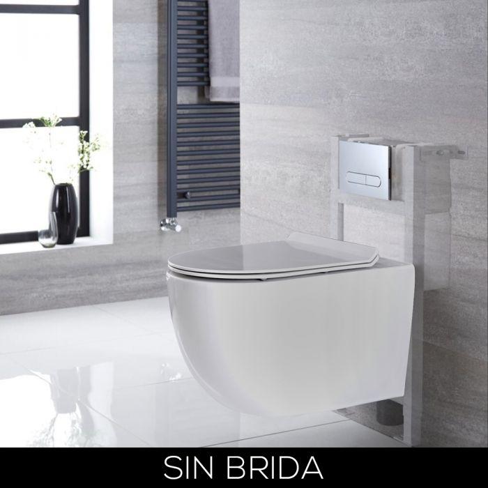 Conjunto de WC con Inodoro Blanco sin Brida Completo con Estructura Empotrable Baja y Cisterna con Distintas Placas de Descarga - Otterton