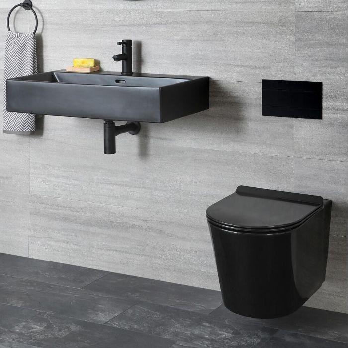Set de Baño Moderno Negro con Inodoro Suspendido de 340x350x560mm y Lavabo Suspendido - Nox