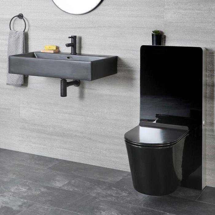Set de Baño Moderno Negro con Inodoro Suspendido de  340x350x560mm y Mueble de WC con Lavabo - Nox