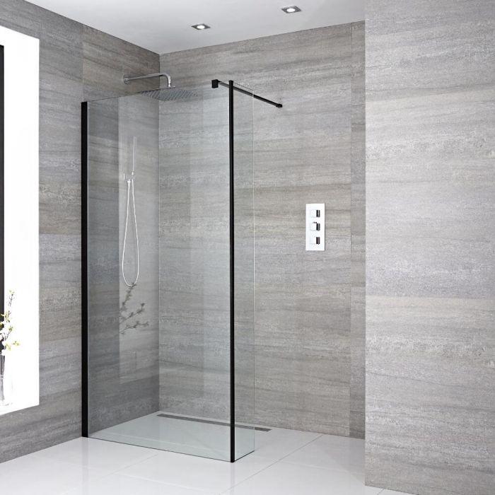 Conjunto de Ducha Walk-in con Mampara de Obra con Panel Antisalpicaduras con Selección de Hojas de Vidrio y Sumideros - Nox
