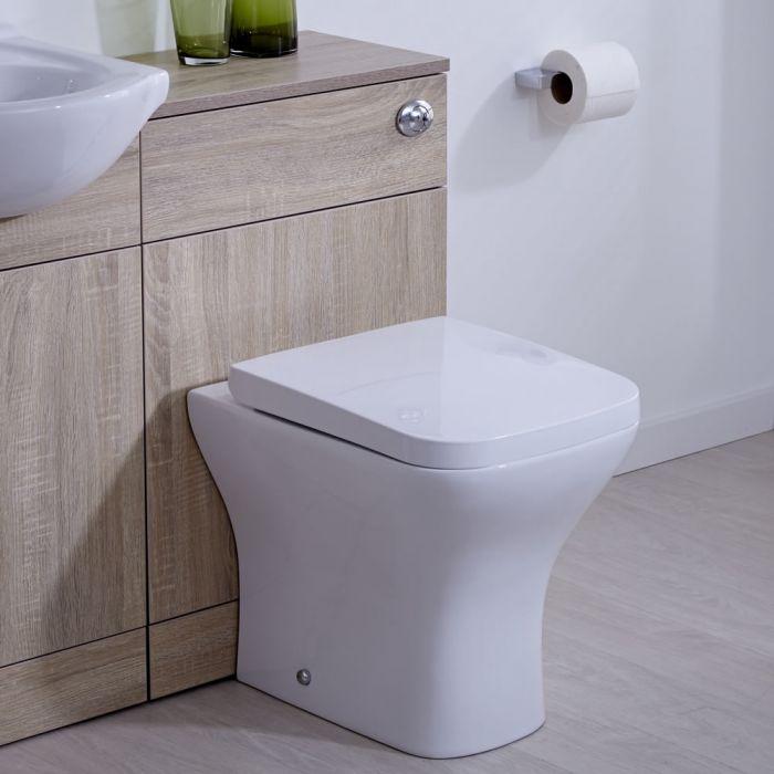 Mueble de Baño de MDF de Color Efecto Roble con Inodoro Integrado 76x50x30cm, Cisterna Empotrable y Tapa de WC - Classic Oak
