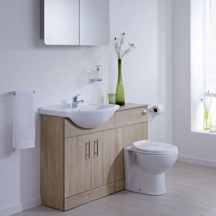 Mueble de Lavabo con Inodoro Mueble de MDF Efecto Roble con 2 Puertas de 835x1132x820mm - Classic Oak