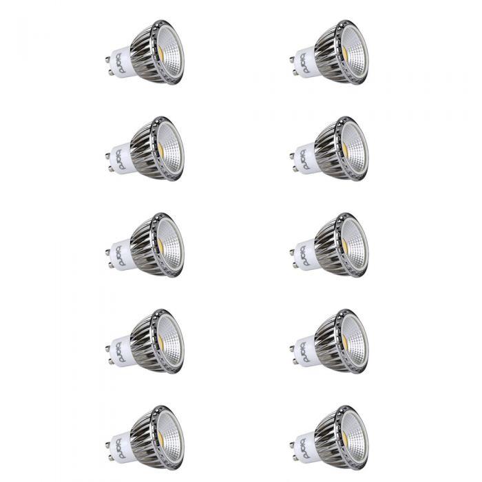 Biard 10x Focos LED COB GU10 5W Angulo de 90° Equivalente a 50W Intensidad Luminosa Regulable