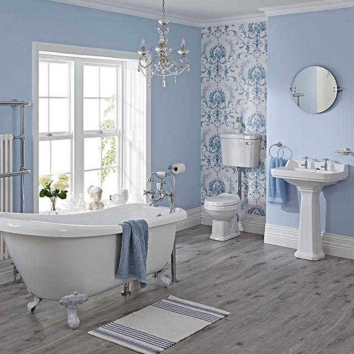 Conjunto de Cuarto de Baño Tradicional Completo con Bañera, Lavabo de 2 Agujeros, Grifería, WC con Cisterna y Tapa para el WC -  Carlton