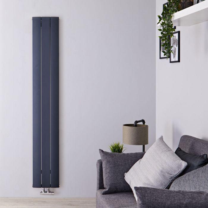 Radiador de Diseño Vertical Con Conexión Central - Aluminio - Antracita - 1800mm x 280mm x 46mm - 1152 Vatios - Aurora