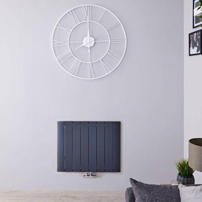 Radiador de Diseño Horizontal Con Conexión Central - Aluminio - Antracita - 600mm x 755mm x 46mm - 1024 Vatios - Aurora