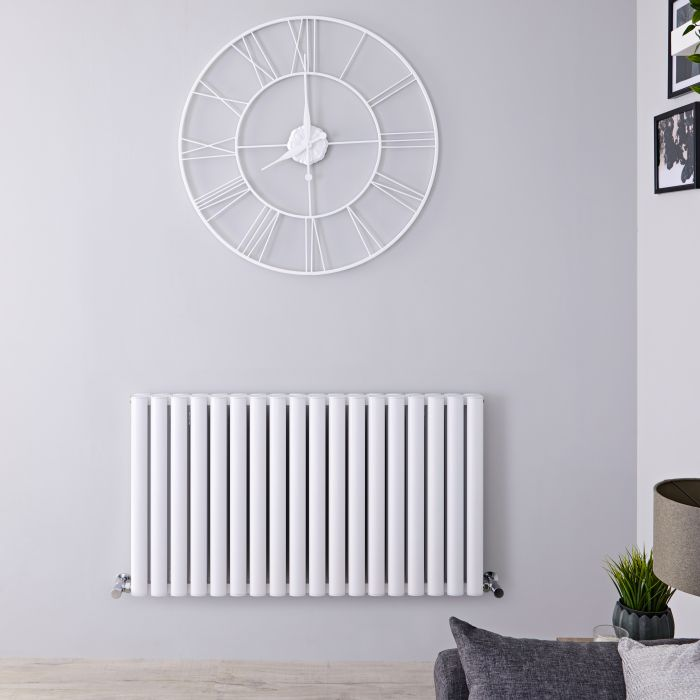 Radiador de Diseño Horizontal Doble - Blanco - 600mm x 1070mm x 76mm - 2067 Vatios - Revive Air