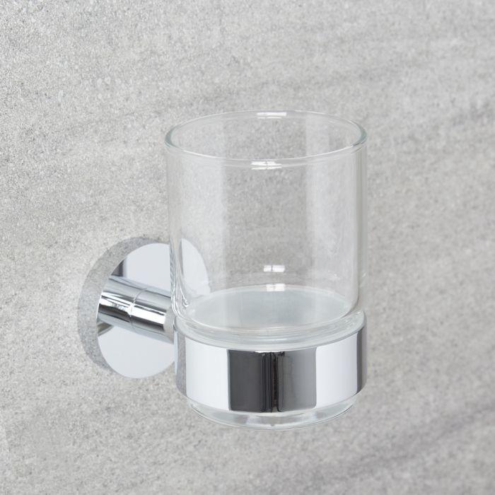 Vaso Porta Cepillo de Dientes en Vidrio Transparente con Soporte Mural