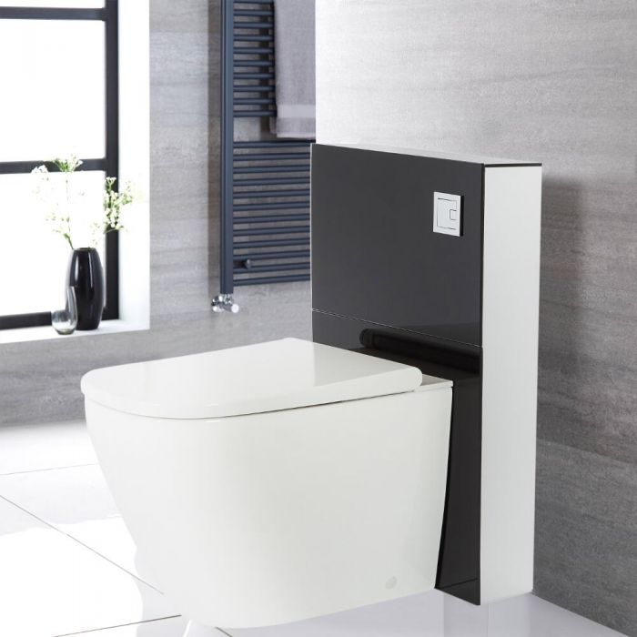 Kit para Inodoro Adosado Negro de 500mm Completo con Inodoro WC Japonés Inodoro-Bidé Inteligente - Saru