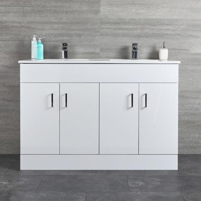 Mueble de Lavabo Blanco de Suelo de 1210mm Completo con Lavabo Doble – Geo