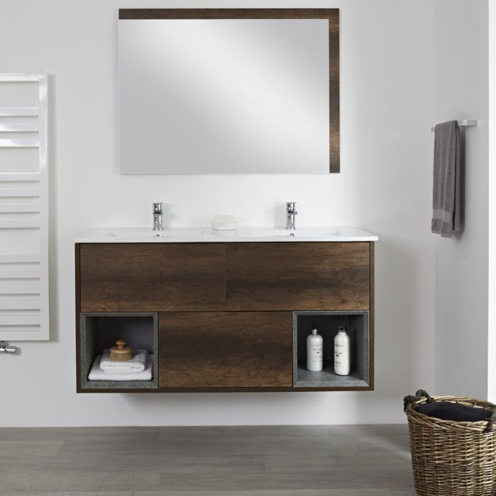 Mueble de Lavabo Mural de 1200mm Color Roble Oscuro con Diseño Abierto con Lavabo Doble - Hoxton