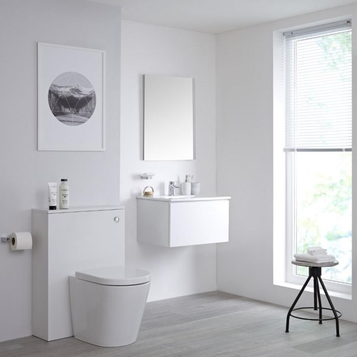 Mueble de Baño de 600mm Color Blanco Opaco Completo con Cisterna, Inodoro y Lavabo Disponible con Opción LED- Newington
