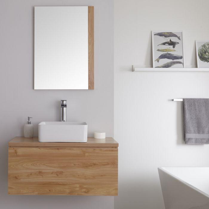 Mueble de Lavabo Mural de 800mm de Color Roble Dorado con Lavabo de Sobre Encimera Cuadrado para Baño Disponible con Opción LED - Newington