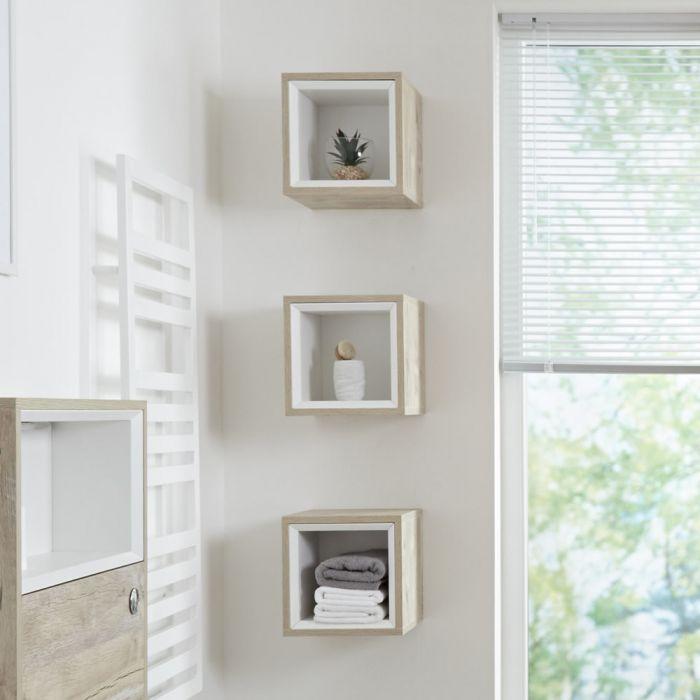 Muebles Para El Cuarto De Bano.Mueble Mural Para Cuarto De Bano De 300mm Color Roble Claro Con Diseno Abierto Hoxton