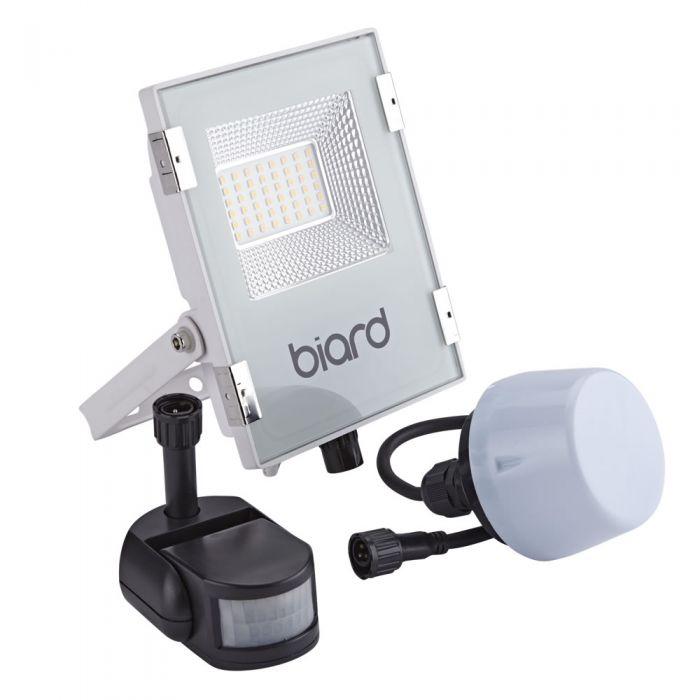 Biard Foco Proyector Plano Blanco 20W con Opción entre Sensor PIR o Sensor Crepuscular