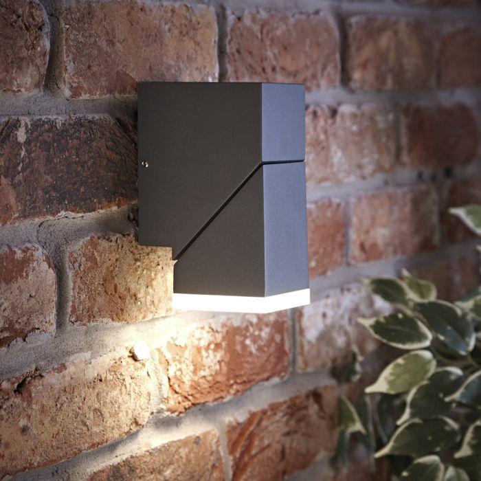 Biard Aplique Mural LED Orientable Antracita con Luz Ascendente o Descendente Cuadrado - Ziersdorf