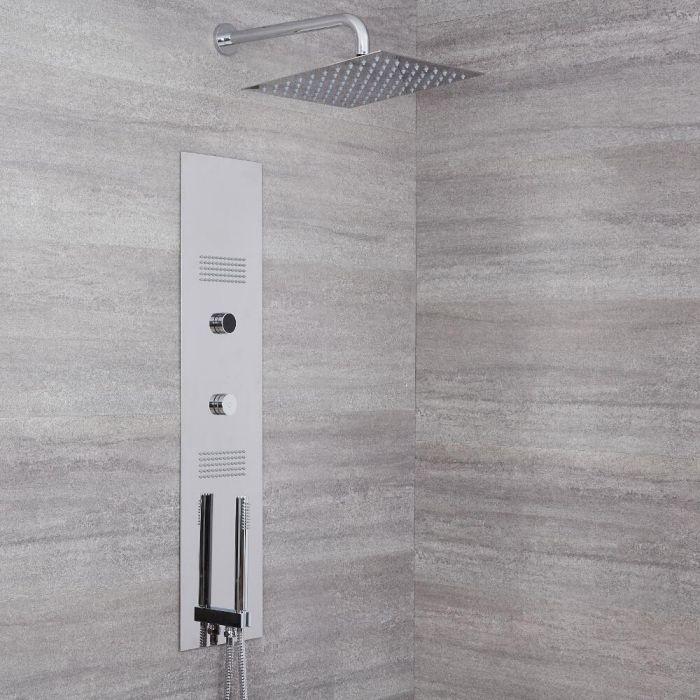 Panel de Ducha Digital Empotrable con Alcachofa de Ducha Cuadrada de 300mm y Brazo de Ducha - Narus
