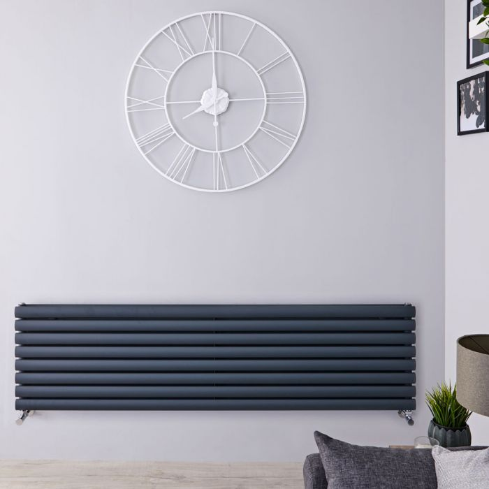 Radiador de Diseño Horizontal Doble - Antracita - 472mm x 1600mm x 78mm - 1610 Vatios - Revive