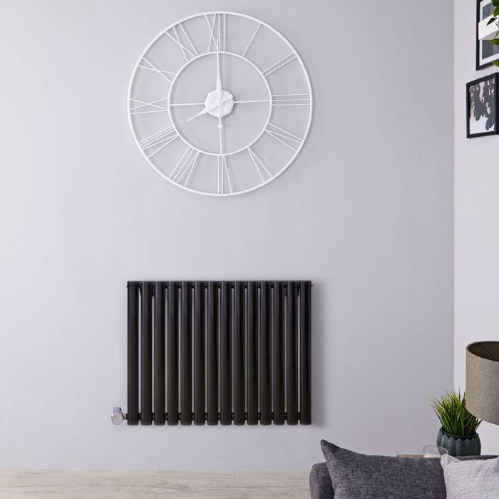Radiador de Diseño Eléctrico Horizontal - Negro Lúcido - 635mm x 834mm x 56mm - Elemento Termostático de 1000W - Revive