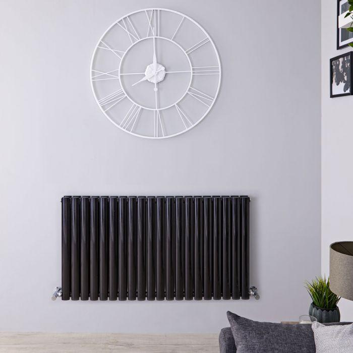 Radiador de Diseño Horizontal Doble - Negro Lúcido - 635mm x 1180mm x 78mm - 1863 Vatios - Revive