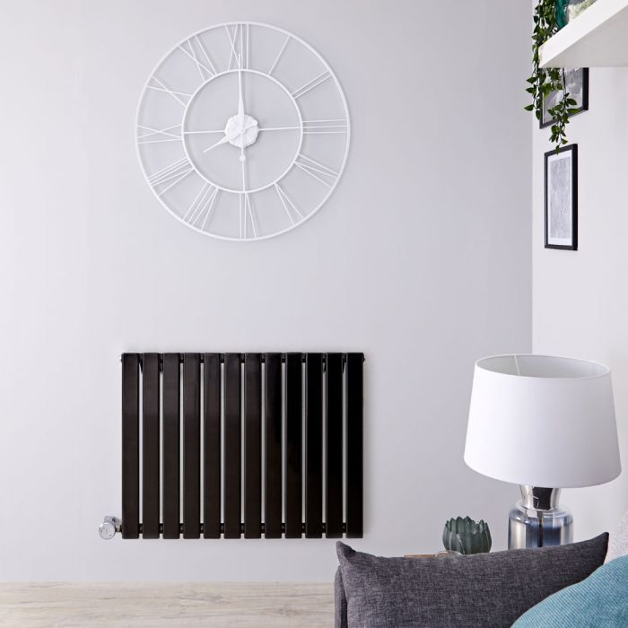 Radiador de Diseño Eléctrico Horizontal - Negro Lúcido - 635mm x 840mm x 46mm - Elemento Termostático de 800W - Delta
