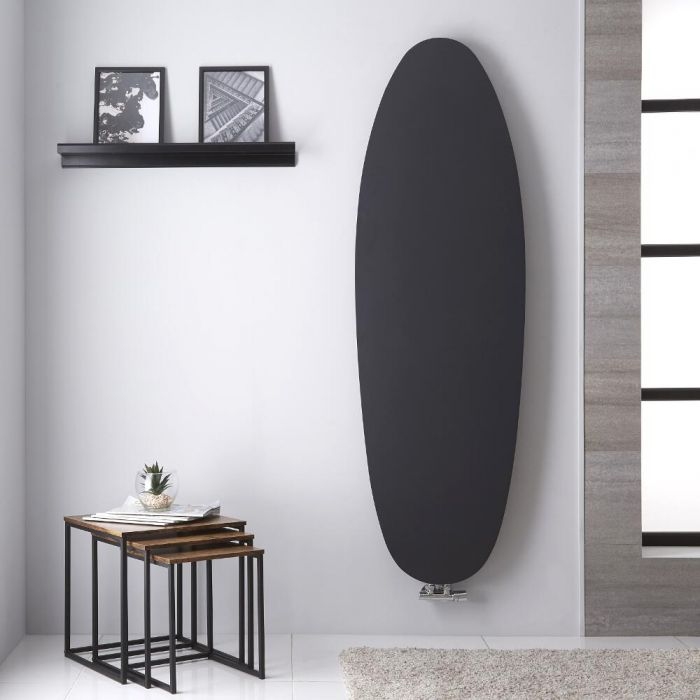 Radiador de Diseño Vertical - Panel Plano Oval - Conexión Central - Color Antracita - 1728mm x 535mm - 990 Vatios - Sovana