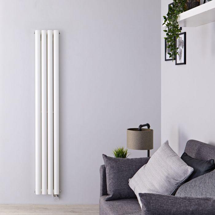 Radiador de Diseño Eléctrico Vertical Doble - Blanco - 1600mm x 236mm x 78mm -  1 Elemento de 1200W  - Revive