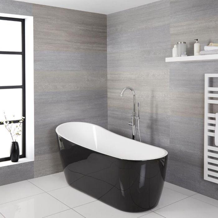 Bañera Acrílica Exenta Asimétrica Moderna Oval Color Blanco y Negro 1800x720mm