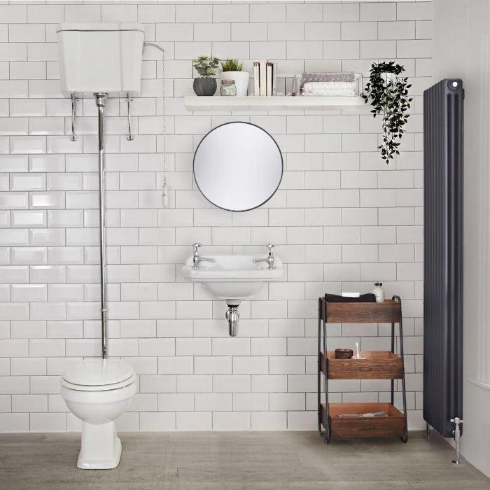 Inodoro WC Tradicional en Cerámica con Cisterna Alta y Salida Horizontal