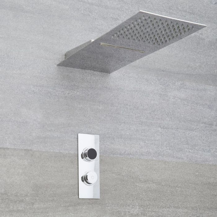 Ducha Digital con Sistema de Control de 2 Salidas con Alcachofa de Ducha Efecto Lluvia o Cascada y Telefonillo de Ducha - Narus