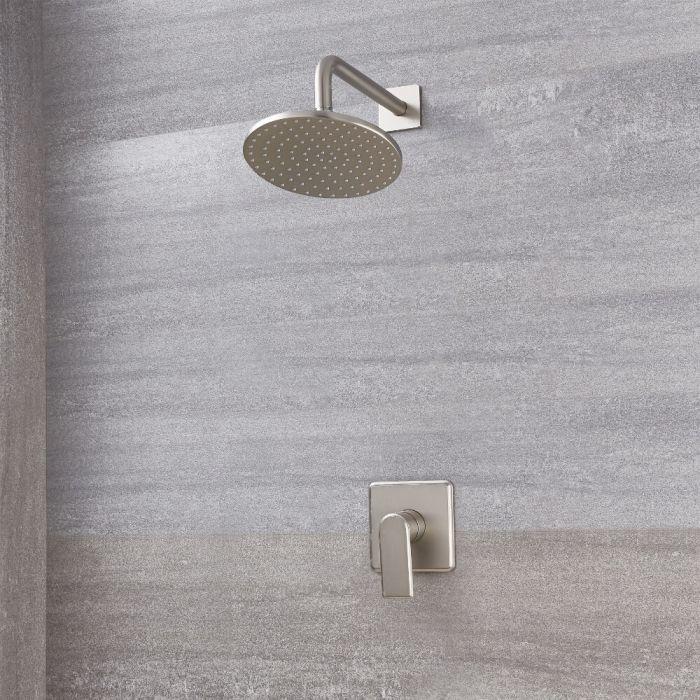 Alcachofa de Ducha Redonda de 200mm con Mezclador de Ducha Manual  de Color Níquel Cepillado - Aldwick