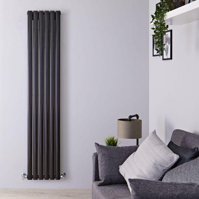 Radiador de Diseño Vertical Doble - Negro Lúcido - 1780mm x 354mm x 78mm - 1401 Vatios - Revive